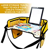 Kids Travel Tray - Adjustable Toddler Activity Tray for Car, Stroller, Bus, Train, Plane - Portable Waterproof Car Seat Desk Organizer with Mesh Pocke