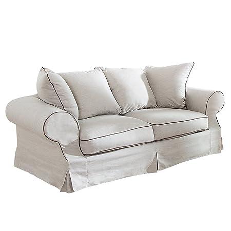 Elegantes Hussen 2er Sofa RIVIERA 210cm beige inkl. Kissen Couch Zweisitzer