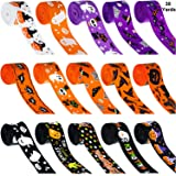 30 Yards Halloween Grosgrain Ribbons Black Orange Purple Halloween Wreath Ribbons Decoration Hair Bows Ribbons with Ghost Hat Spider Bat Print for Gift Wrapping, 1 Inch