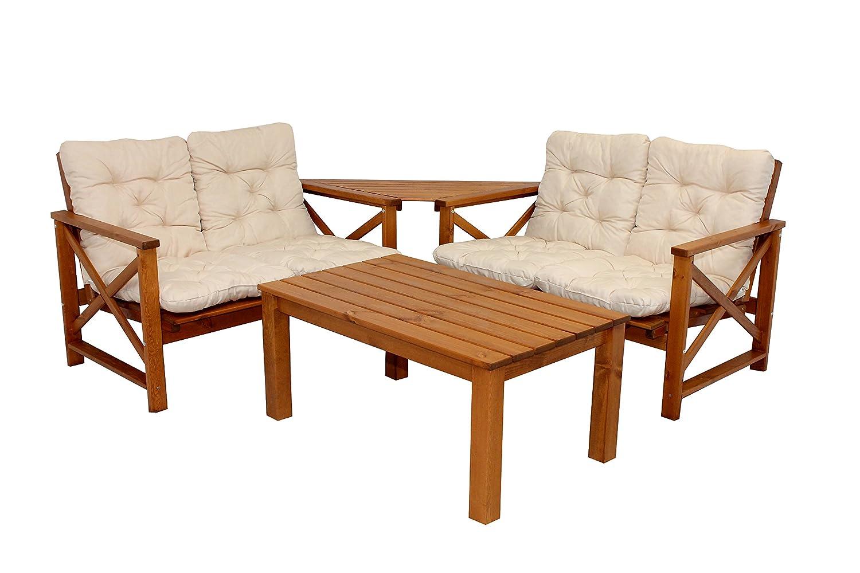 4tlg. Sitzgruppe Loungegruppe OSLO braun inkl. Auflagen Loungetisch Coffeetable