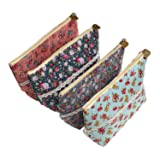 LJY 4 Pieces Assorted Large Capacity Flower Floral Pen Holder Stationery Pencil Pouch Travelling Multi-functional Cosmetic Bags (Color: Multi-color, Tamaño: 9.4 * 5.5 * 2.8 inch)