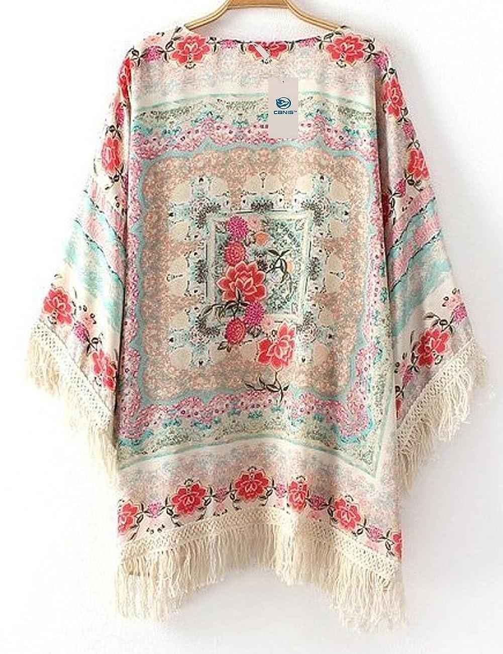 New Vintage Flower Tassels Shawl Cardigan Chiffon Kimono Cardigan Coats Jackets (XL) 1