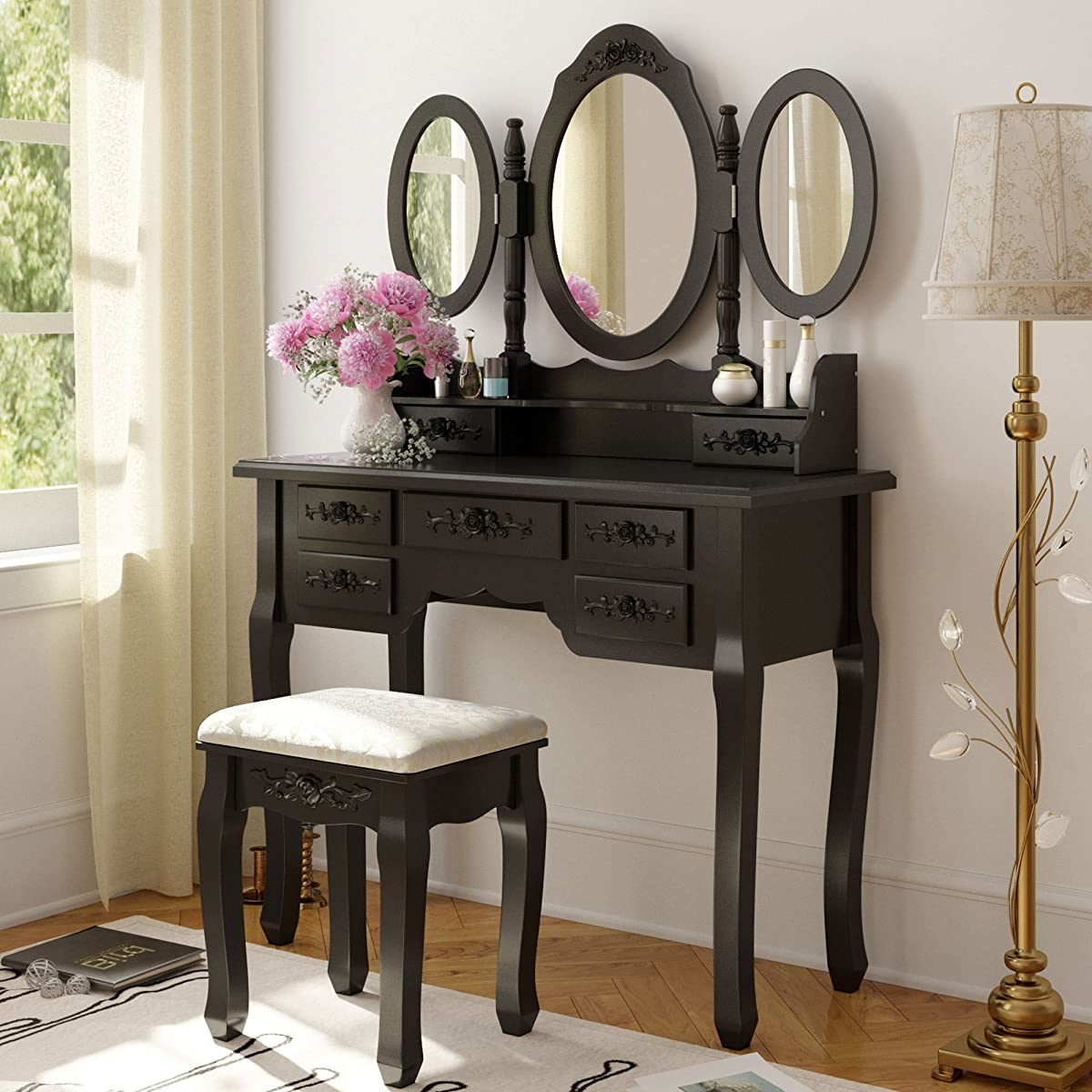 Tribesigns Wood Makeup Vanity Table Set With 3 Mirror