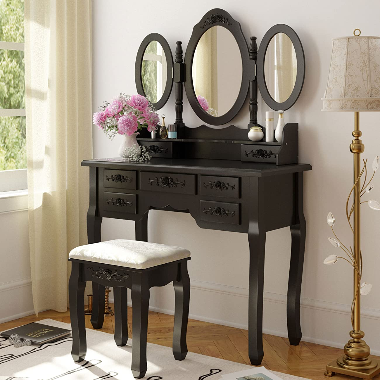 Tribesigns Vanity Makeup Table Set with Stool and Mirror (3 Mirror + 7 Drawer) 0