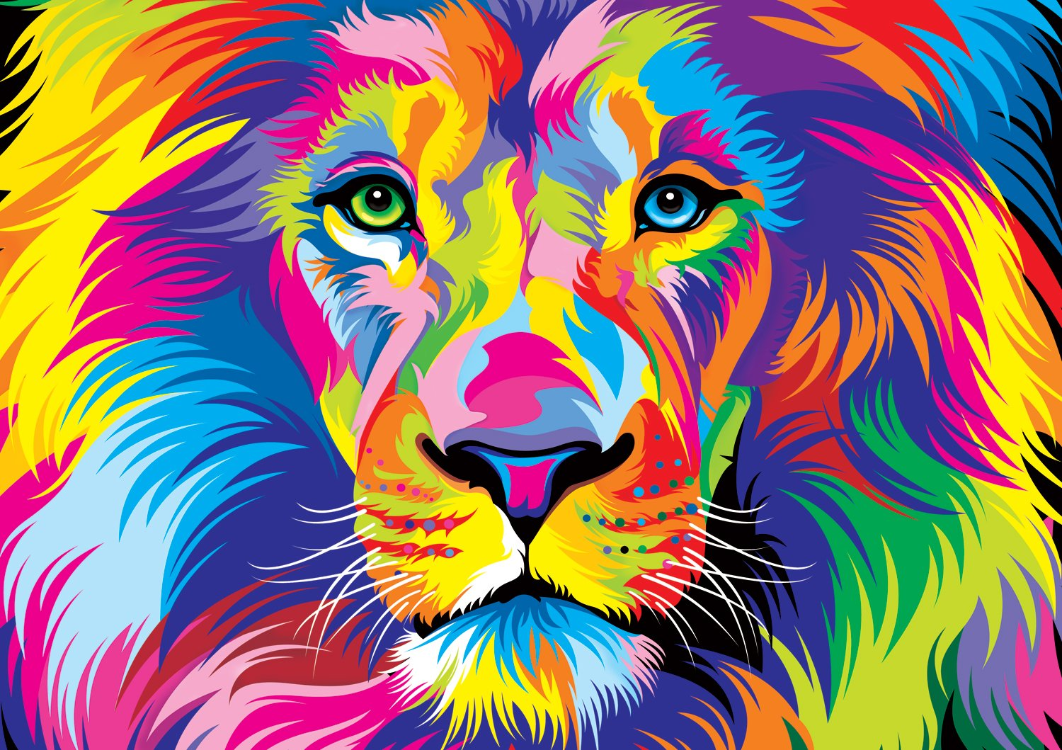 Group Of Colourful Lion Wallpaper