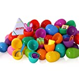 ez toys Filled Easter Eggs, Surprise Eggs Filled with Easter Toy, Great for Easter Eggs School Hunt, Surprise Eggs Hinged Together for Easy Assembly with Bonus Easter Multi Color Highlighter, 30 Piece
