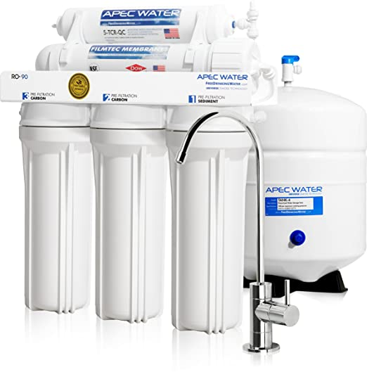 APEC Water - Top Tier - Built in USA - Certified Ultra Safe, High-Flow 90 GPD Reverse Osmosis Drinking Water Filter System (RO-90)