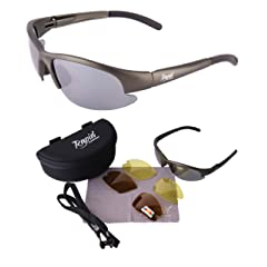 Lightweight POLARISED FISHING SUNGLASSES with Interchangeable Polarized Anti Glare and Low Light Lenses. UV (UVA / UVB) Protection. For Men & Women. TR90 Silver Gray Frame