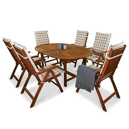 indoba® IND-70048-BASE7 + IND-70409-AUHL - Serie Bali - Gartenmöbel Set 13-teilig aus Holz FSC zertifiziert - 6 klappbare Gartenstuhle + ausziehbarer Gartentisch + 6 Comfort Auflagen Karo Weinrot