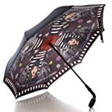 Nicole Lee Women's Cup Holder Handle Gray Print Pongee Uv Protection Reversible Umbrella, Paola is Tomboy (Color: Paola is Tomboy, Tamaño: One Size)