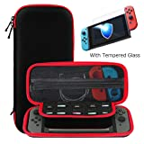 Ztotop Case and Tempered Glass Screen Protector for Nintendo Switch, Portable Travel Carrying Case Slim Protective Hard Shell Pouch for Switch Console & Accessories (10 Game Holder), Streak Red (Color: #1 Streak Red)