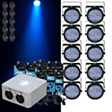 Chauvet (10) Slimpar 64 LED Par + ADJ MY DMX Software + 10 Cables & O-Clamps