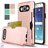 Samsung Galaxy J7 Case With HD Screen Protector,(Not Fit J7 2016)AnoKe[Card Slots Holder][Not Wallet] Plastic TPU Hybrid Shockproof Heavy Duty Case For Samsung Galaxy J7 J700 2015 KC2 Rose Gold (Color: KC2 Rose Gold)