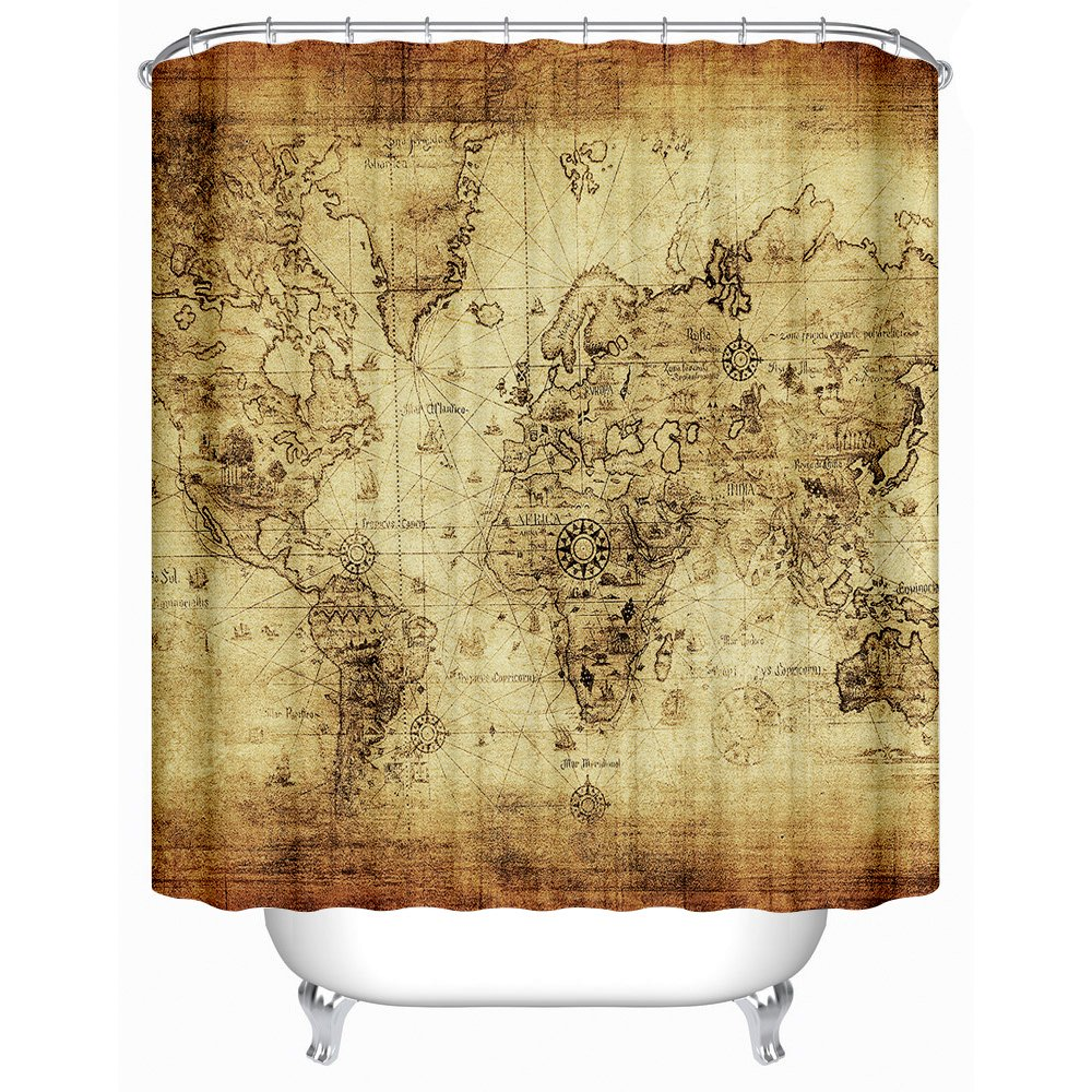 Uphome 72 X 72 Inch Antique Map of the World Vector Children Bathroom Curtain Accessories-Earthy Yellow Antibacterial Heavy-duty Bathroom Shower Curtains Ideas 0