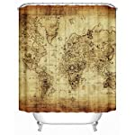 Uphome 72 X 72 Inch Antique Map of the World Vector Children Bathroom Curtain Accessories-Earthy Yellow Antibacterial Heavy-duty Bathroom Shower Curtains Ideas