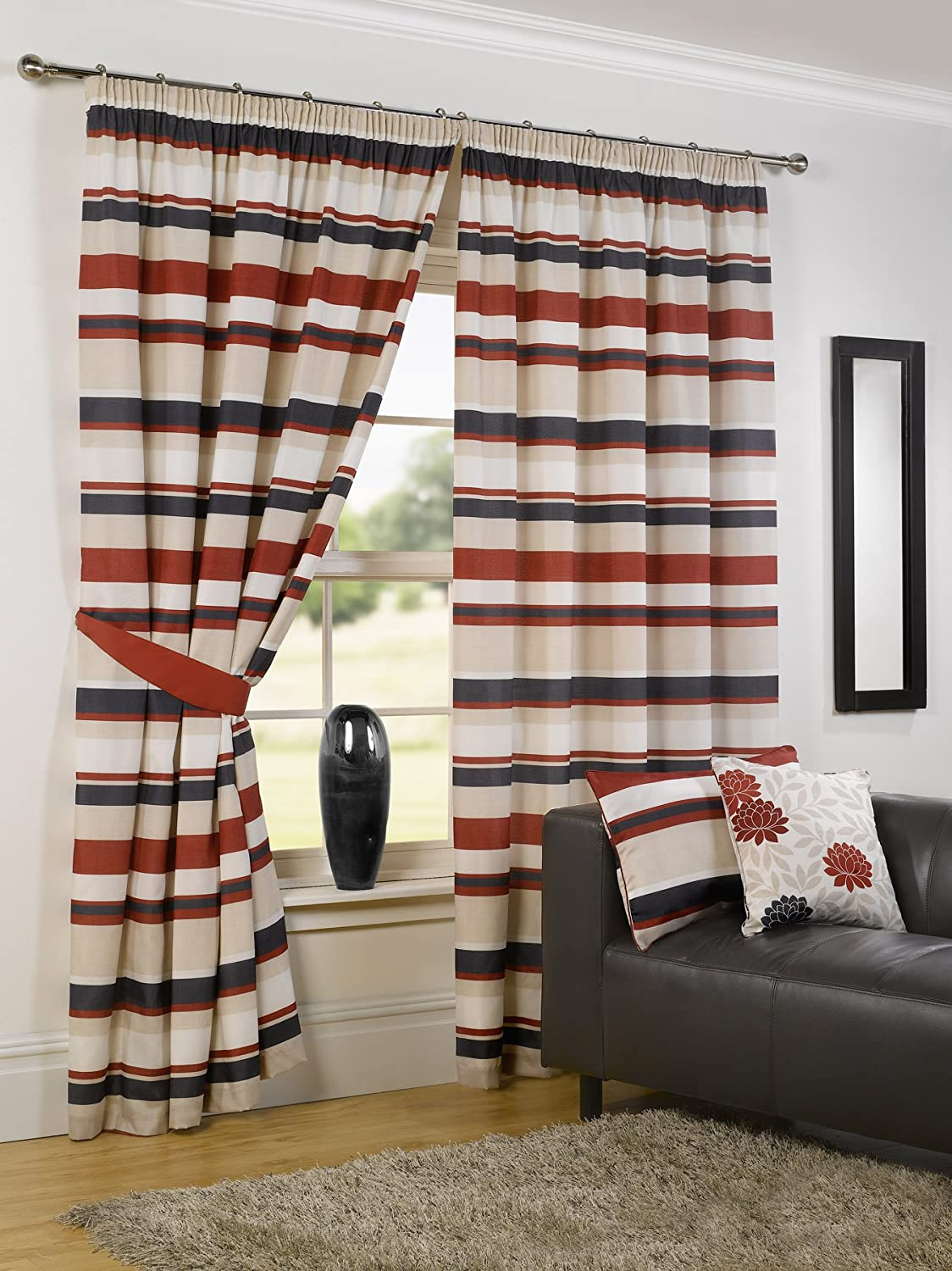 Stripes design red black pencil pleat lined readymade curtains ebay