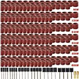 Coceca 458pcs Sanding Drums for Drum Sander,Kit with 432pcs Sanding Band Sleeves 24pcs Drum Mandrels 2pcs Self-Tightening Drill Chuck for Dremel Rotary Tool (Color: 80/120/240/320/400/600(458pcs in total))