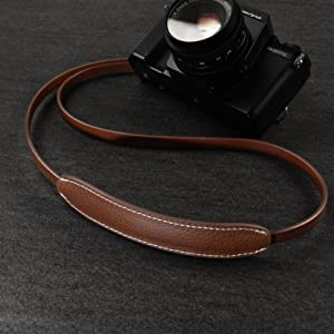 CANPIS CP005 Leather Camera Neck Shoulder Strap with Movable Pad for Universal Camera Sony Leica Canon Nikon Fuji Olympus Panasonic etc. Color: Black /& Brown, Length 108cm