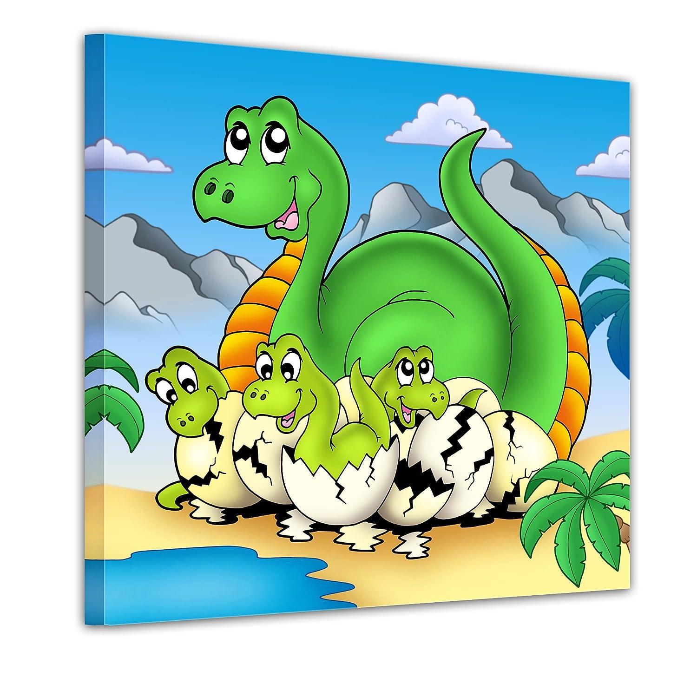 """Bilderdepot24 Bild auf Leinwand """"Dino Kinderbild – Mama mit Baby"""" 20x20cm – fertig gerahmt, direkt vom Hersteller günstig online kaufen"""