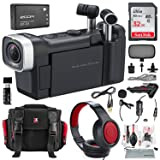 Zoom Q4n Handy Video Camera and Light Kit Deluxe Bundle w/Lavalier Mic, Closed-Back Headphones, 32GB, Card Reader Aux Cable, Xpix Case + Tripod + Cleaning Kit