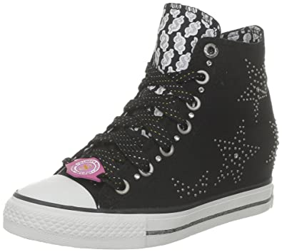 Skechers Women's Gimme Sneakers - black rock chick shoes with cool silver stud star pattern