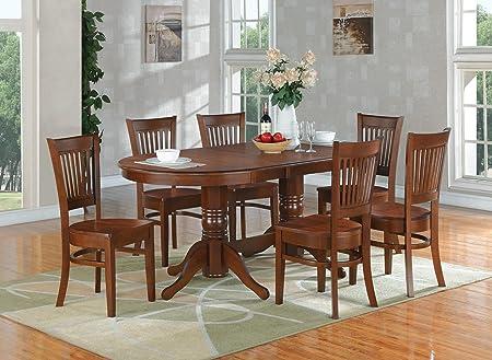 East West Furniture VANC7-ESP-W 7-Piece Dining Table Set