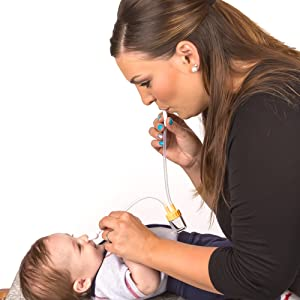 Baby Nasal Aspirator Clears Mucous & Sinus Congestion - Hospital Grade Booger Remover is Safe, BPA Free, Easy to Use - Clean Sick Toddlers & Infants N