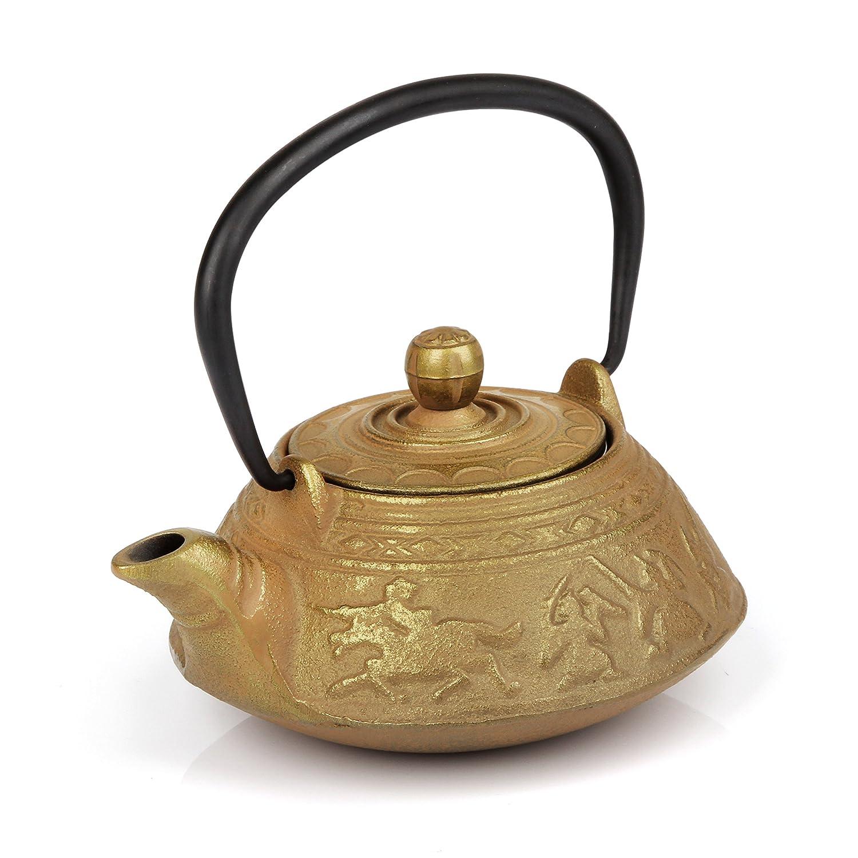 Japanese cast iron tea pot golden color oz zgc ebay