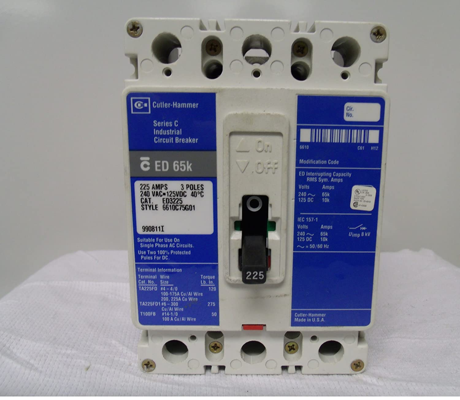 Eaton / Cutler-hammer / Westinghouse ED3225 (C-H) Circuit Breakers total protein jay cutler