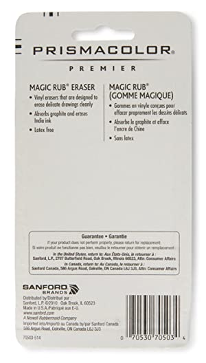 Prismacolor Premier Magic Rub Vinyl Erasers, 3-Count (Color: WHITE, Tamaño: 3 Pack)