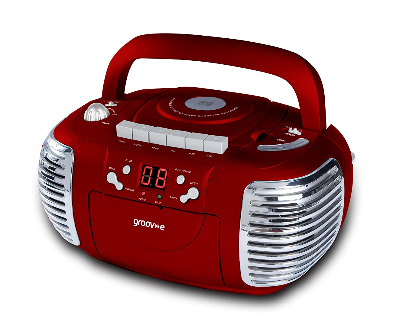 Groov-e Retro Boombox Portable CD, Cassette, Radio Player - Red GVPS813RD 0