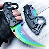 Snake Eye Tactical Everyday Carry Karambit Style Ultra Smooth One Hand Opening Folding Pocket Knife - Ideal for Recreational Work Hiking Camping (Rainbow) (Color: rainbow)