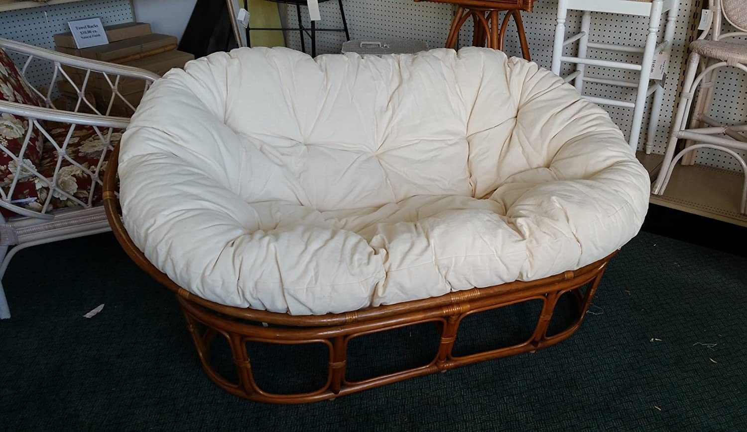 Papasan Loveseat - Classic Indoor Rattan Furniture NIB (Pecan-Natural)