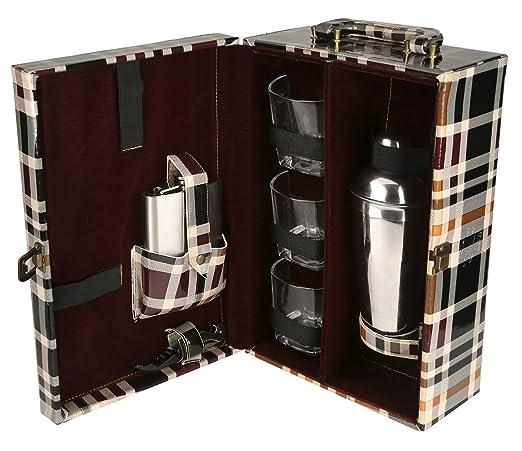 Diseñador pu cuero blanco y negro travel wine portador caso superior manija caja regalo conjunto