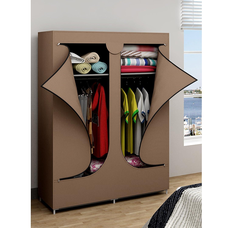 double-door-portable-wardrobe-closet-clothes-rack-storage-organizers-brown