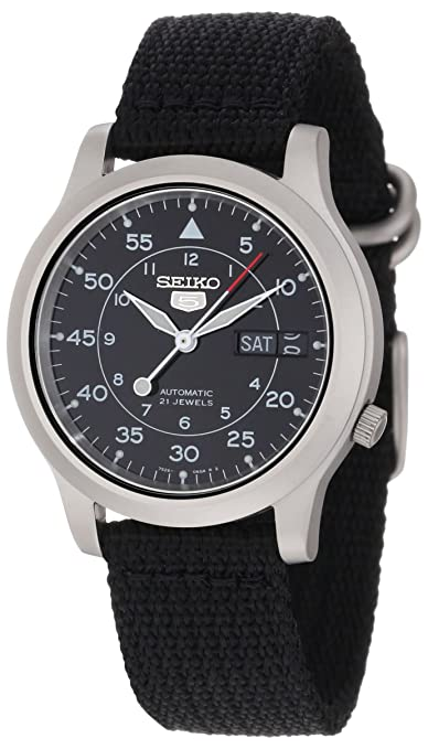 "首次低于50美金:Seiko Men's SNK809 ""Seiko 5"" Automatic Watch with Black Canvas Strap-奢品汇 