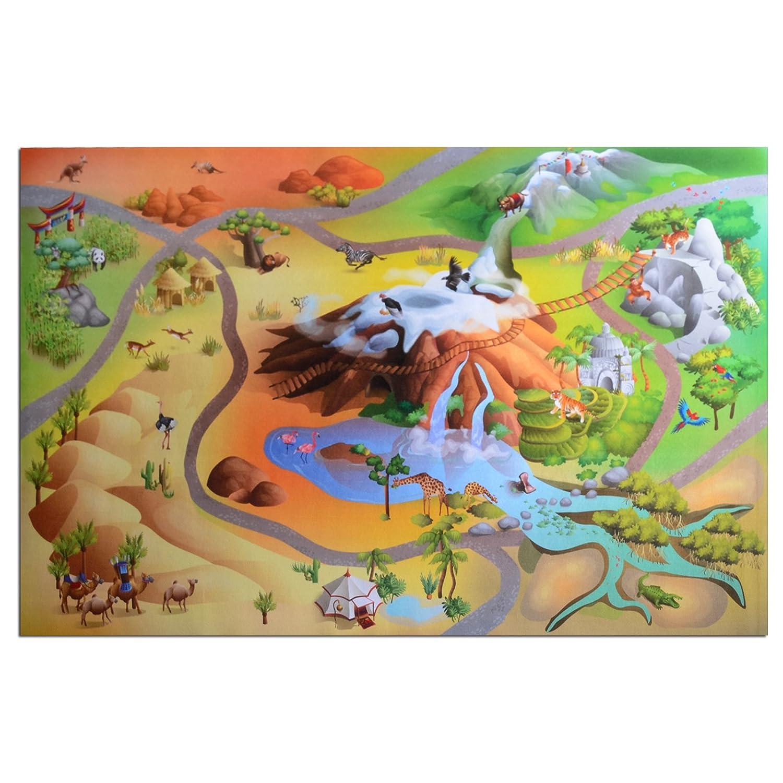 Waschbarer Kinderspielteppich in 3 Größen | phtalat-frei | Motiv Wildnis | 80 x 120 cm jetzt kaufen