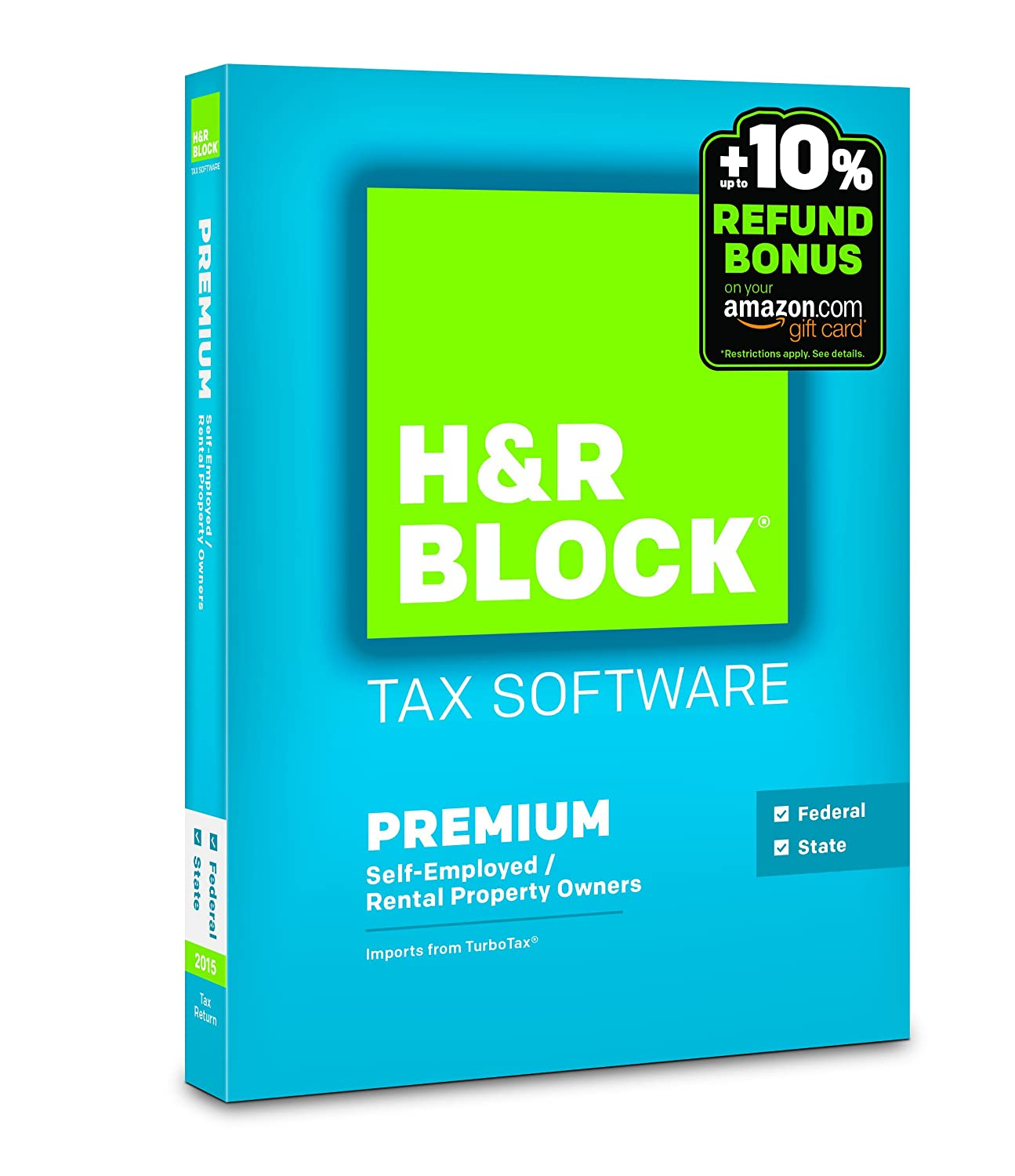 H&R Block 2015 Premium + State Tax Software + Refund Bonus Offer - PC/Mac Disc