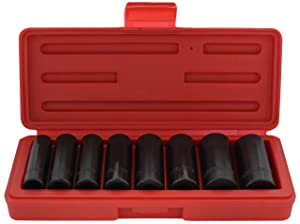 Drixet 3/8 Drive Deep Metric Impact Socket Set   8-Piece 6-Point CR-V Sockets with Case   Includes Sizes: 10, 12, 13, 14, 15, 16, 18 & 19mm (Color: Black, Tamaño: Metric)