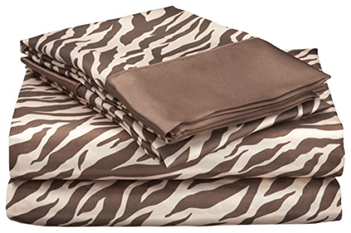 Royal Opulance Satin Queen Sheet Set, Zebra, Brown/Ivory