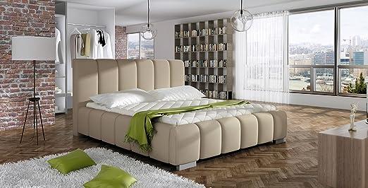 Bett LONGUE Betgestelle Polsterbett Ehebett Doppelbett mit LED (160 x 200 cm, Beige)