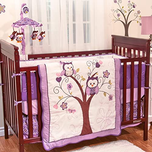 Plum Owl Meadow 4 Piece Baby Crib Bedding Set by Babys First