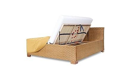 Rattanbett mit Bettkasten und Lattenrosten mit seitlichem Springaufbeschlag, Größe 100x200cm, Farbe Honig