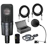 Audio-Technica AT4040 Cardioid Condenser Mic w/Pop Filter and (2) 20' XLR Cables (Color: Black)