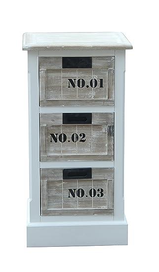 SIT-Möbel 8011-10, Mobiletto con cassetti Forest, in MDF anticato certificato FSC, 40 x 35 x 77 cm, Beige (Bunt)