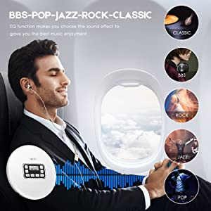 Portable CD Player, HOTT Personal Compact Walkman with Electronic Skip Protection Anti-Shock Function, Portable Disc Player with Headphones and Power Adapter (Color: White)