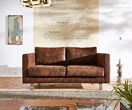 Sofa Baracca Braun 160x95 Antik Optik Bauhausstil mit Kissen 2-Sitzer