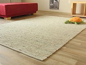 Landshut Handweb Teppich aus 100 % Schurwolle  natur, Größe 200x290 cmKundenbewertung und weitere Informationen