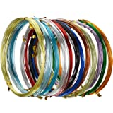 12 Rolls Multi-Colored Aluminum Craft Wire, Flexible Metal Wire for Jewelry Making and Various Crafts, Each Roll 16.4 Feet (20 Gauge) (Color: 12 different color, Tamaño: 20 Gauge)