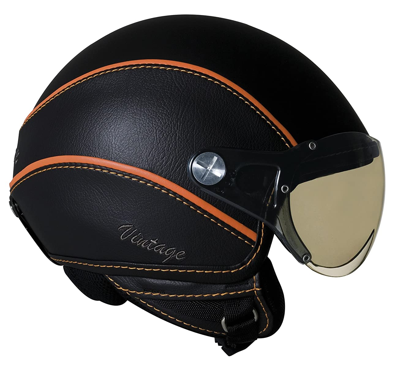 Nexx Vintage X60 Harley Touring Motorcycle Helmet - Black/Orange / X-Large 0